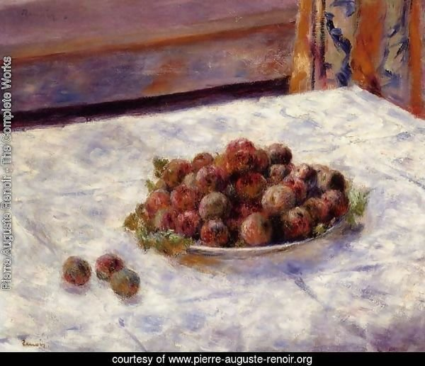 Still Life, a Plate of Plums