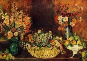 Pierre Auguste Renoir - Vase, Basket of Flowers and Fruit