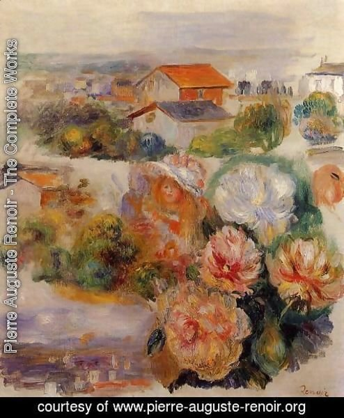 Pierre Auguste Renoir - Landscape, Flowers and Little Girl