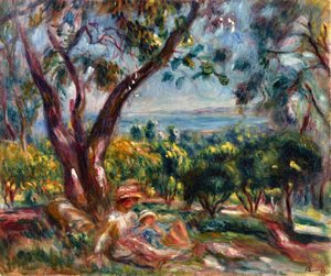 Pierre Auguste Renoir - Cagnes Landscape with Woman and Child