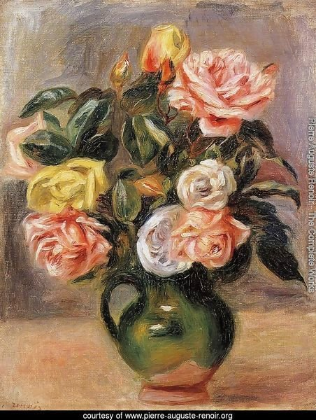 Bouquet of Roses in a Green Vase