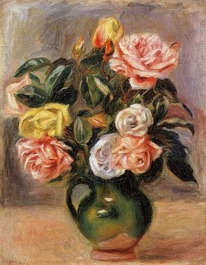 Pierre Auguste Renoir - Bouquet of Roses in a Green Vase