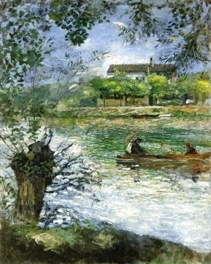 Pierre Auguste Renoir - Willows and Figures in a Boat