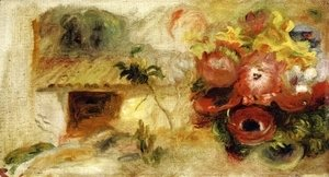 Pierre Auguste Renoir - Small House, Buttercups and Diverse Flowers (study)