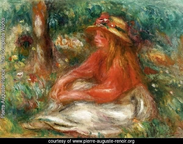 Young Girl Seated on the Grass