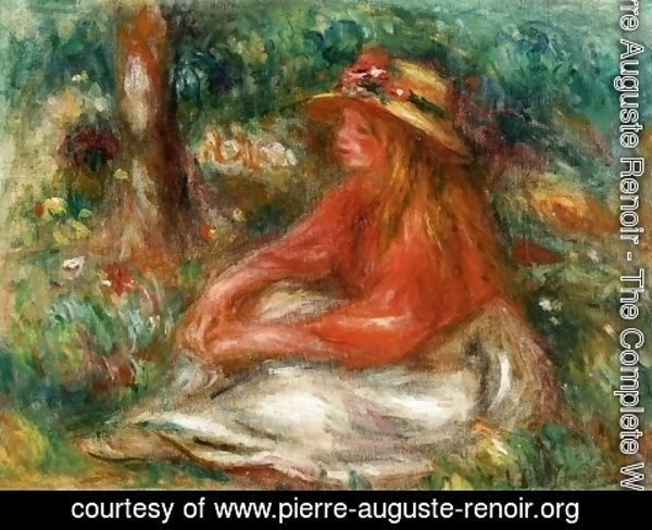 Pierre Auguste Renoir - Young Girl Seated on the Grass