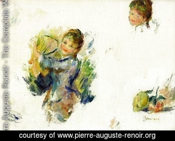"Pierre Auguste Renoir - Study for ""Girls playing with a Shuttlecock'"