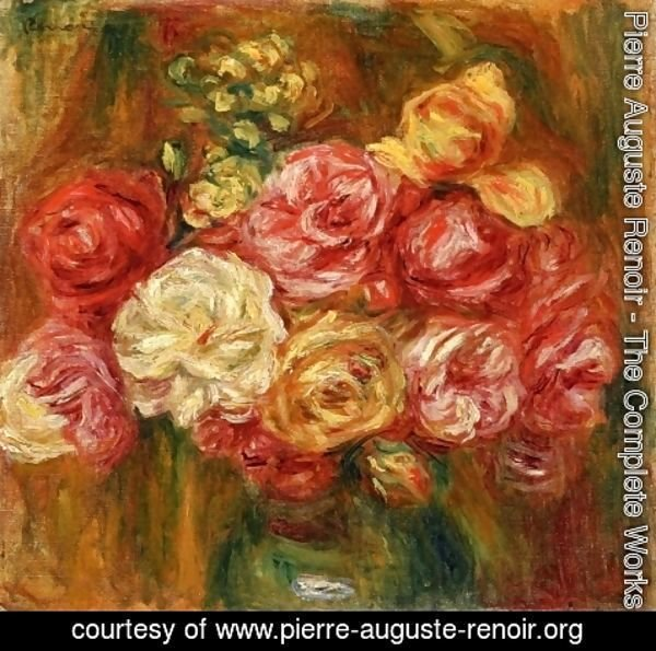 Pierre Auguste Renoir - Bouquet of Roses in a Green Vase I