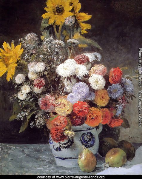 Mixed Flowers In An Earthware Pot