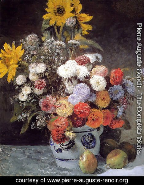 Pierre Auguste Renoir - Mixed Flowers In An Earthware Pot