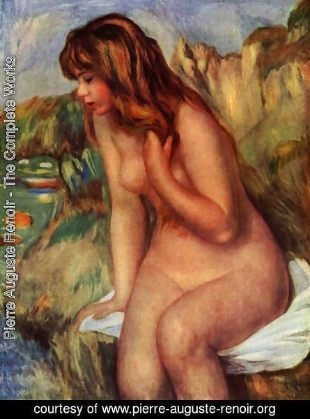 Pierre Auguste Renoir - Bathers, sitting on a rock