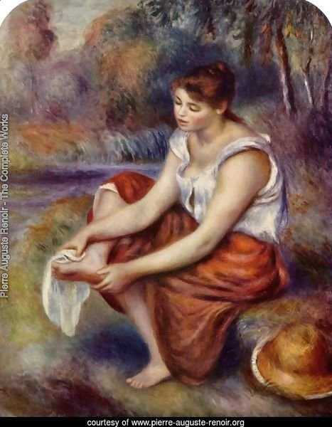 Girl, at the feet of drying