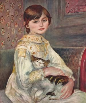 Pierre Auguste Renoir - Portrait of Mademoiselle Julie Manet with a cat