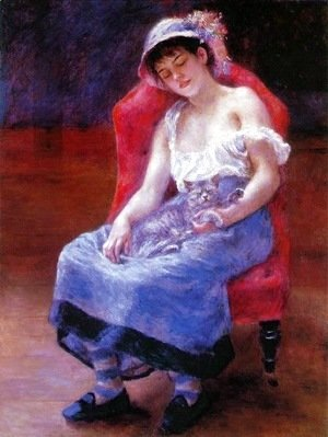Pierre Auguste Renoir - Sleeping Girl (Girl with a Cat)