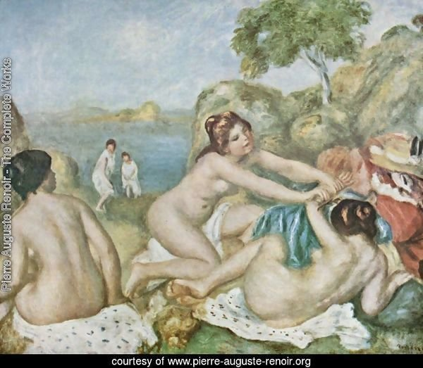 Three girls bathing with crab