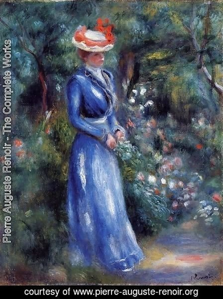 Pierre Auguste Renoir - Woman in a Blue Dress, Garden of Saint-Cloud