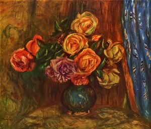Pierre Auguste Renoir - Still life, roses before blue curtain