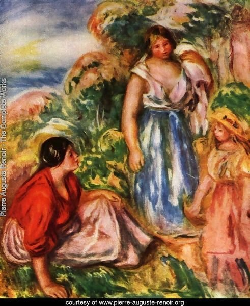 Two women with young girl in a landscape