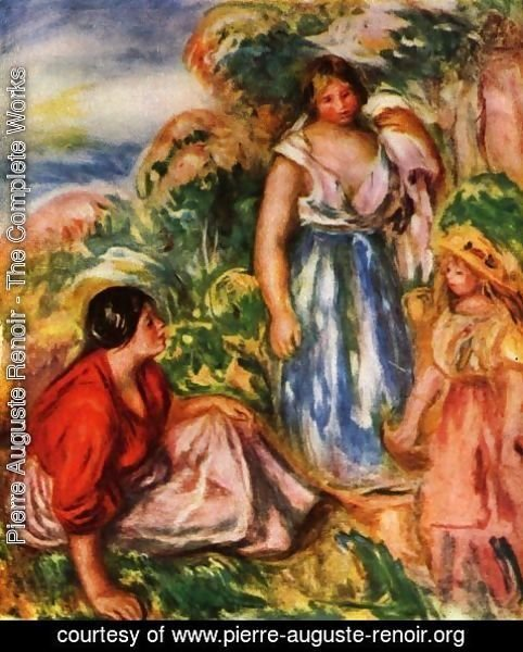 Pierre Auguste Renoir - Two women with young girl in a landscape