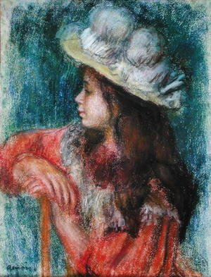 Pierre Auguste Renoir - Seated Young Girl in a White Hat 1884