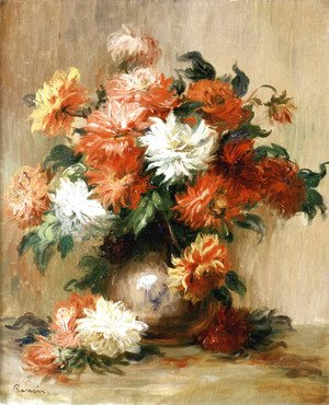 Pierre Auguste Renoir - Still Life with Dahlias