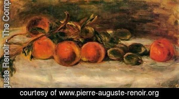 Pierre Auguste Renoir - Still Life with Peaches and Chestnuts