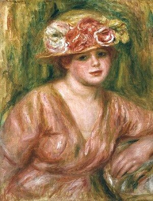 Pierre Auguste Renoir - The Rose Hat or Portrait of Lady Hessling