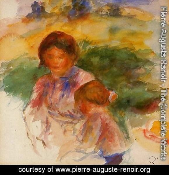 Pierre Auguste Renoir - Woman and Child in the Country 1896