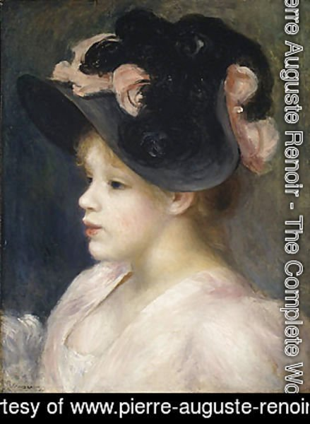 Pierre Auguste Renoir - Young Girl in a Pink and Black Hat 1890s