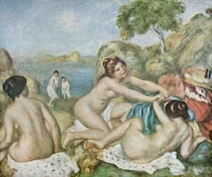 Pierre Auguste Renoir - Three girls taking a bath with crab