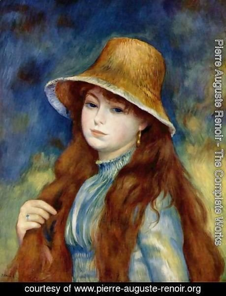 Pierre Auguste Renoir - Girl with straw hat