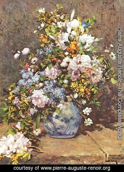 Pierre Auguste Renoir - Still life with a flowers in a large vase & Pierre Auguste Renoir - The Complete Works - Still life with a ...