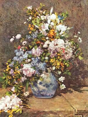 Pierre Auguste Renoir - Still life with a flowers in a large vase