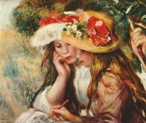 Pierre Auguste Renoir - Two girls reading in a garden