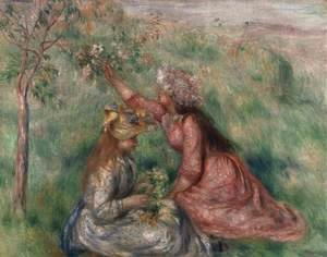 Pierre Auguste Renoir - Girls Picking Flowers in a Meadow