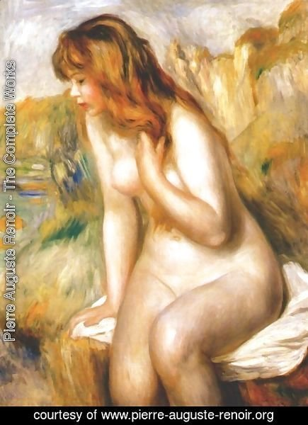Pierre Auguste Renoir - Bather seated on a rock