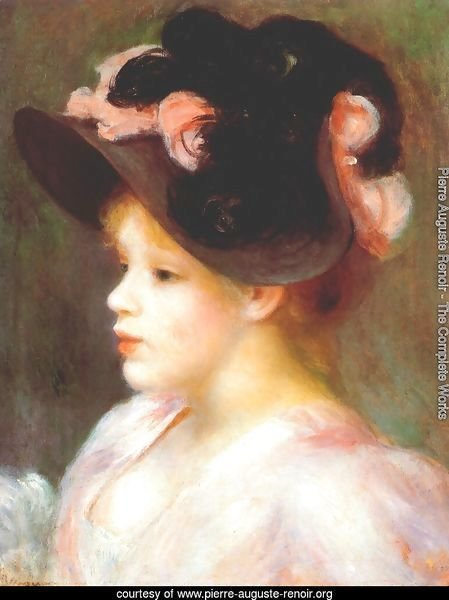 Girl with a pink and black hat