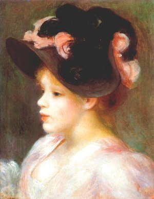 Pierre Auguste Renoir - Girl with a pink and black hat