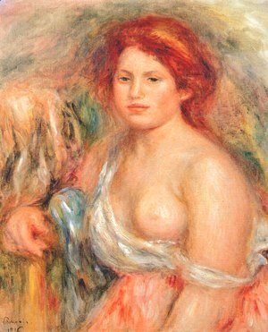 Pierre Auguste Renoir - Model with bare breast