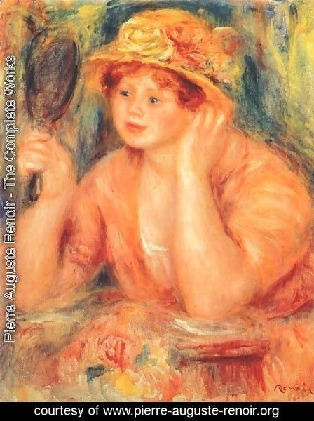 Pierre Auguste Renoir - Girl looking into a mirror