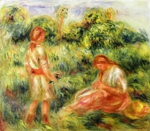 Pierre Auguste Renoir - Two Young Women in a Landscape