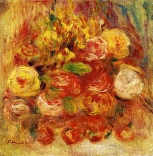Pierre Auguste Renoir - Flowers in a Vase with Blue Decoration