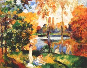 Pierre Auguste Renoir - Landscape with female bathers