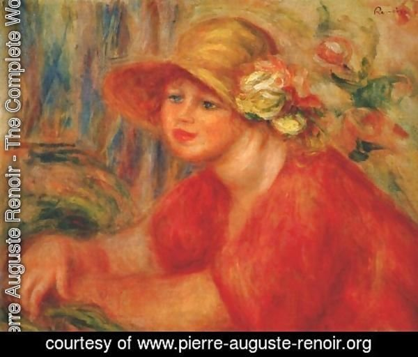 Pierre Auguste Renoir - Woman in a hat with flowers