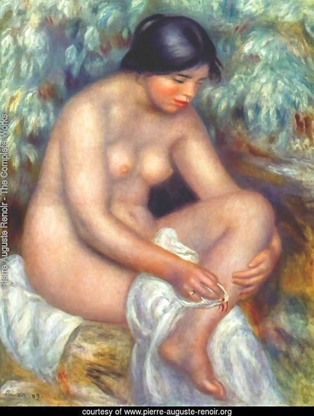 Bather wiping a wound