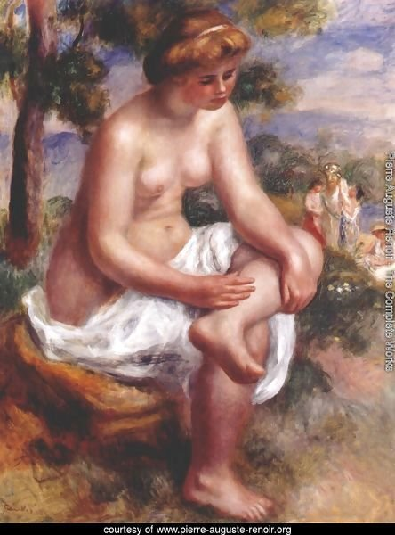 Seated bather in a landscape