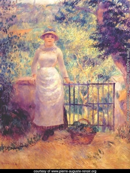 Aline at the gate (girl in the garden)