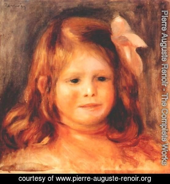 Pierre Auguste Renoir - Girl with a pink ribbon