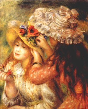 Pierre Auguste Renoir - Girls putting flowers on their hats