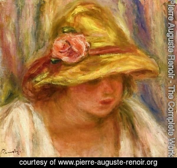 Pierre Auguste Renoir - Study of a Woman in a Yellow Hat
